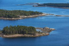 Aerial view of islands in the Kandalaksha Bay of the White Sea. Russian north stock images