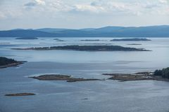 Aerial view of islands in the Kandalaksha Bay of the White Sea. Russian north stock photo