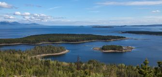 Aerial view of islands in the Kandalaksha Bay of the White Sea. Russian north royalty free stock photography