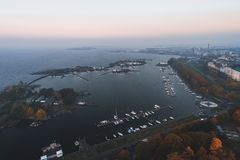 Aerial view of the islands outside Helsinki coast at Karhupuisto. Finland. Aerial view of the islands outside Helsinki coast at Karhupuisto on an autumn day with stock images