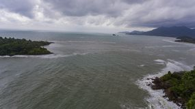 Aerial View of Islands on a stormy day. Koh Chang, Thailand. Aerial View of Islands on a stormy day. Beautiful ocean, rocks, and trees. Koh Chang, Thailand stock images