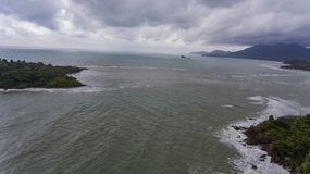 Aerial View of Islands on a stormy day. Koh Chang, Thailand. Aerial View of Islands on a stormy day. Beautiful ocean, rocks, and trees. Koh Chang, Thailand stock image