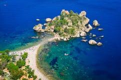 Aerial view of Isola Bella beach in Taormina, Sicily. Italy stock photos