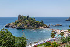 Aerial view of Isola Bella island and beach - Taormina, Sicily, Italy Royalty Free Stock Photography