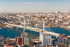 Aerial view of Istanbul with bridge across Golden Horn Stock Image