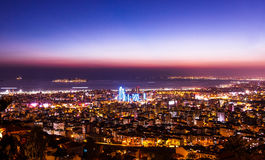 Aerial view Istanbul city downtown with sunset tone, Turkey Stock Photo