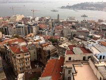 Aerial view of the Istanbul city from Galata tower. Cloudy day. royalty free stock photos