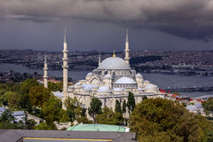 Aerial view of Istanbul city skyline Mystique Suleymaniye Mosque Royalty Free Stock Images
