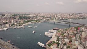 Aerial view of Istanbul. Flying above Golden Horn of Istanbul stock video