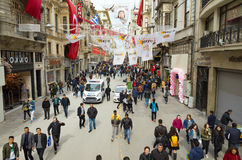 Aerial view of Istiklal street in Istanbul Turkey Royalty Free Stock Photography