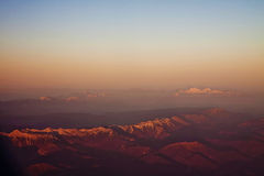 Aerial view of  Italian Alps at sunset Stock Photos