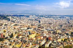 Aerial view of an Italian old town. Napoli cityscape. Roofs of Campania. Naples stock photography