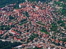 Aerial view italian veneto altopiano Asiago village. Aerial view of italian veneto altopiano Asiago village Royalty Free Stock Image