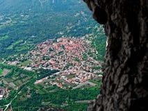 Aerial view italian veneto altopiano Asiago village. Aerial view of italian veneto altopiano Asiago village Stock Photo