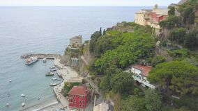 Aerial View, Italy, Mountains, Ligurian Sea, Cinque Terre, Monterosso al Mare.  Flying around the peninsula looking down