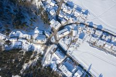 Aerial View of Itter Traditional Austrian village Covered by Snow in Winter Morning stock image