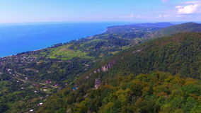 Aerial view from Iverian Mountain on Black Sea coastline. Abkhazia stock footage
