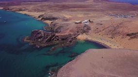 Aerial view of the jagged shores and beaches of Lanzarote, Spain, Canary. Papagayo beach. Aerial view of the jagged shores and beaches of Lanzarote, Spain stock footage