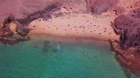 Aerial view of the jagged shores and beaches of Lanzarote, Spain, Canary. Roads and dirt paths. Papagayo beach. Aerial view of the jagged shores and beaches of stock video footage