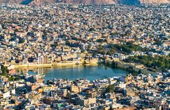 Aerial view of Jaipur with Tal Katora Lake - Rajasthan, India. Aerial view of Jaipur with Tal Katora Lake - Rajasthan State of India Royalty Free Stock Images