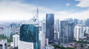 Aerial view of Jakarta cityscape. JAKARTA, Indonesia. January 27, 2018: Aerial view of Jakarta cityscape in Sudirman Central Business District shot from a drone royalty free stock photography