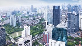 Aerial view of Jakarta cityscape. JAKARTA, Indonesia. January 27, 2018: Aerial view of Jakarta modern buildings in Sudirman Central Business District shot from a stock images