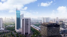 Aerial view of Jakarta modern buildings. JAKARTA, Indonesia. January 27, 2018: Aerial view of Jakarta modern buildings in Sudirman CBD area royalty free stock photo