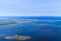 Aerial view of Jamaica Bay on approach to New York City Stock Photos