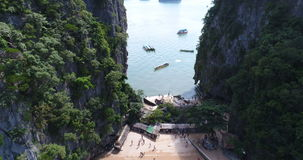 Aerial view of James Bond island and beautiful limestone rock formations in the sea