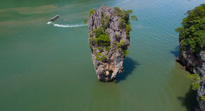 Aerial view of James Bond island and beautiful limestone rock formations in the sea Royalty Free Stock Images