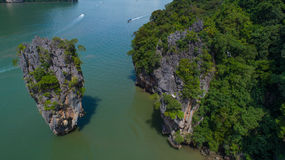 Aerial view of James Bond island and beautiful limestone rock formations in the sea Royalty Free Stock Image