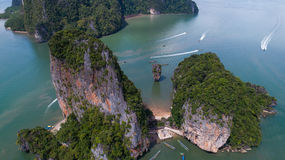 Aerial view of James Bond island and beautiful limestone rock formations in the sea Stock Photography