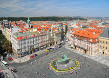 Aerial view of Jan Hus Monument in Prague, Czech Republic Royalty Free Stock Photography