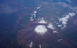 Aerial view of Japan's Mount Fuji volcano Royalty Free Stock Photography