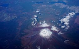 Aerial view of Japan's Mount Fuji volcano Royalty Free Stock Photos