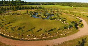 Aerial view of Japanese garden in the largest Japanese garden in Europe stock video footage