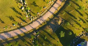 Aerial view of Japanese garden in the largest Japanese garden in Europe. Lithuania stock footage