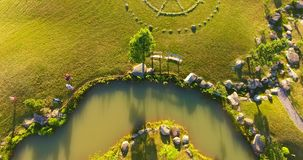 Aerial view of Japanese garden in the largest Japanese garden in Europe stock footage
