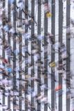 Aerial view of a japanese pedestrian passage in Tokyo painted with white stripes on the black asphalt used by the traffic of cars. And the footsteps of royalty free stock photography