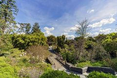 Aerial view of Japanese style building in Huntington Library. At Los Angeles, California royalty free stock image