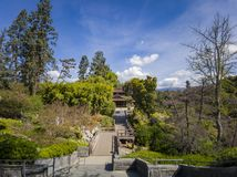 Aerial view of Japanese style building in Huntington Library. At Los Angeles, California stock photo