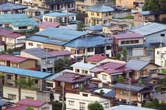 Aerial view of Japanese town Stock Images
