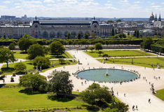 Aerial view of Jardin des Tuileries royalty free stock photo