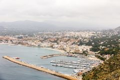 Aerial view of Javea harbor in Spain stock images