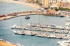 Aerial view of Javea harbor in Spain royalty free stock photography