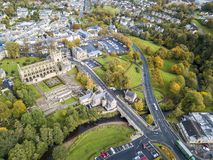 Aerial view of Jedburgh in autumn with the ruins of Jedburgh Abbey in Scotland royalty free stock images
