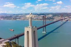 Aerial view Jesus Christ monument watching to Lisbon city in Por Royalty Free Stock Photos