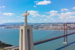 Aerial view Jesus Christ monument watching to Lisbon city in Por Royalty Free Stock Image