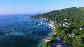 Aerial view of Jetty in La Digue Island (Anse la Reunion), Seychelles. stock footage