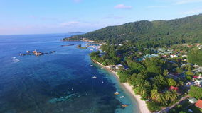 Aerial view of Jetty in La Digue Island (Anse la Reunion), Seychelles. stock video